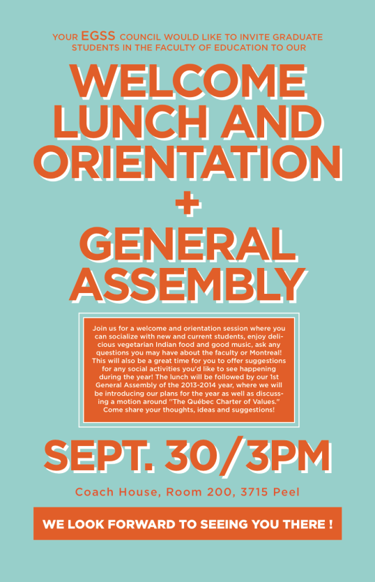 EGSS Welcome Lunch and Fall General Assembly!